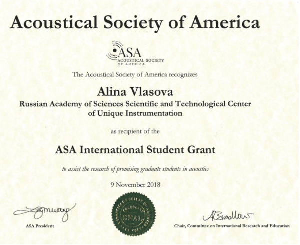 The Acoustical Society of America recognizes Alina Vlasova